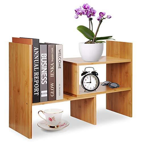 Hoseejoy Verstellbares Schreibtischregal aus Naturholz 13 '' - 24''x6.7''x13.8 '' Bambus