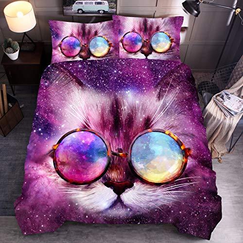BH-JJSMGS 3D-Tier Katze, Hund, Wolf, 3D-bedruckter Bettbezug und Kissenbezug, Brille Katze 210 * 210