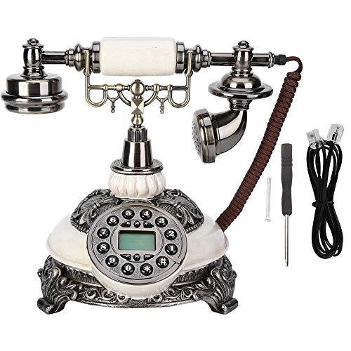 Teléfono Fijo Retro con Cable, Teléfono Antiguo Europeo Vintage FSK/DTMF de Pantalla Identificador/Recordar de Llamadas para Hotel/Sala de Estar/Decoración