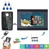 Drahtlose WiF-Bildtelefon-Türklingel Freisprech Gegensprechanlage RFID-Passwort Kabelgebundenes Infrarot-Nachtsichtgerät HD Außenkamera Überwachung