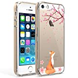 Ftonglogy Cute Fox Pink Cherry Blossoms [5ft Drop Proof] Clear Flower Pattern Design Girls Women Phone Case Cover for iPhone 5/5S SE 2016