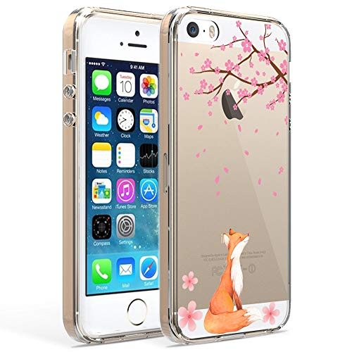 Ftonglogy iPhone 5 Case,iPhone 5S SE Case with Flowers, Clear Cute Painting Design Pattern Air Cushion Shockproof TPU Bumper and PC Hard Back Non-Slip Protective Case (Fox Cherry Blossoms)
