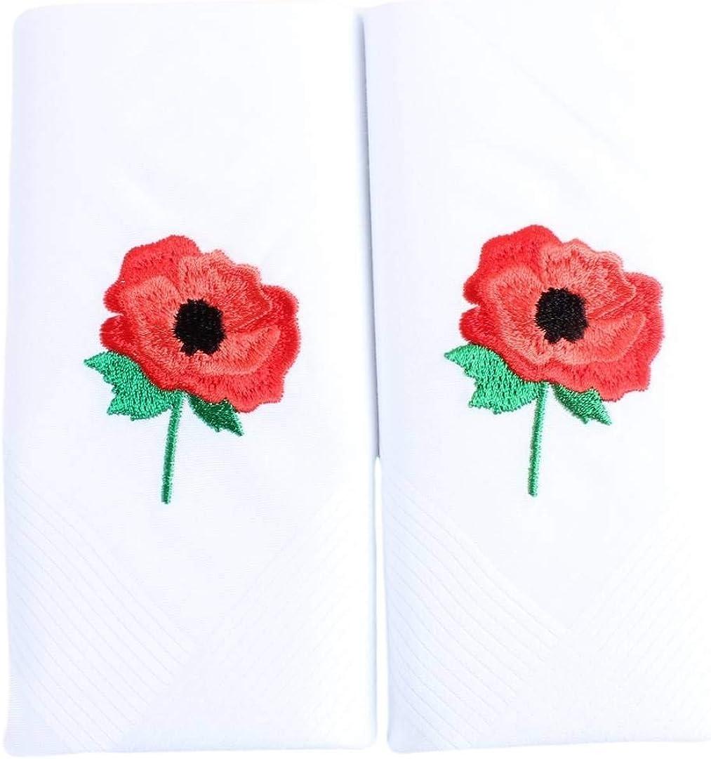 David Van Hagen Mens Embroidered Poppy Handkerchief - White/Red