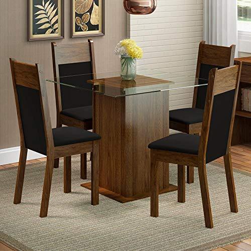 Conjunto Sala de Jantar Mesa 4 Cadeiras Miami Madesa Rustic/Preto