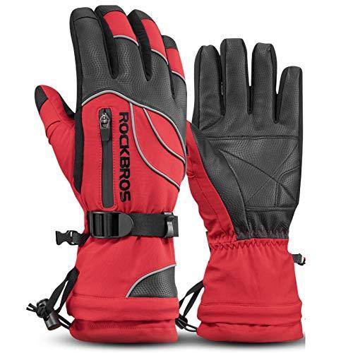 Fahrradhandschuhe,Wasserdichtes Schichtdesign Erweiterte Armschienen Palm Slip Geeignet für Sportreiten Winter Thermohandschuhe MTB-Handschuhe Red,S