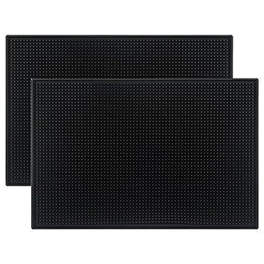 Tebery Black Mat 18  x 12  Rubber Bar Service Spill Mat ( 2 pack )