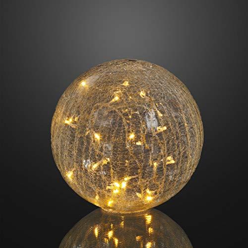 Hellum LED Deko Glaskugel Rissoptik transparent Ø 25 cm 24 LEDs warmweiß Outdoor Zuleitung 5 m transparent Außen-Transformator 568905