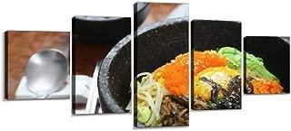 Korean Cuisine bibimbap in a Heated Stone Bowl Wall Decoration Print Photo on Canvas Modern Photography Home Decor Modern Canvas Painting Wall Art 5 Piece