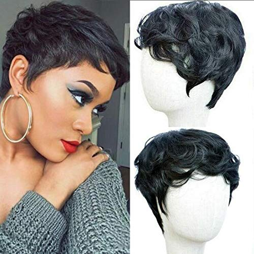 Flandi Short Natural synthetic Hair Wigs Synthetic Short Black Pixie...