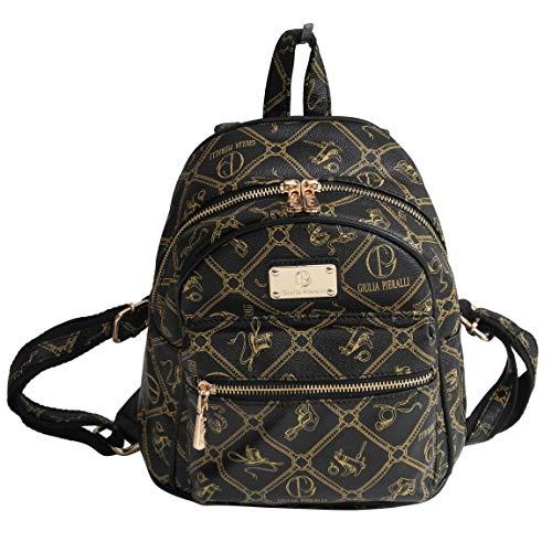 Giulia Pieralli Backpack - Damen Glamour Rucksack Handtasche Rucksacktasche (Schwarz) - präsentiert von ZMOKA®