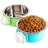 2 Pack Crate Dog Bowl, Removable & Stainless Steel Kennel Water Bowl Hanging Pet Cage Bowl Food and Water Feeder Coop Cup for Puppy Medium Dogs Birds Ferret Cat