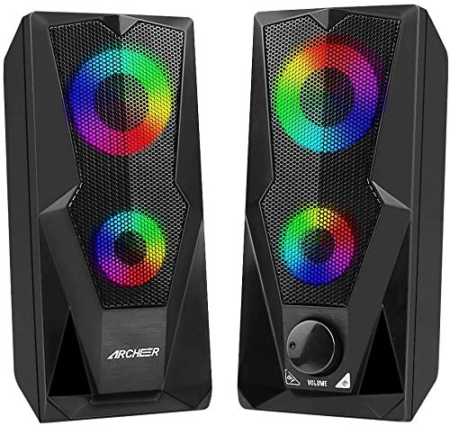 PC Speaker, ARCHEER 10W Enhanced Stereo Computer Speaker with Colorful LED...