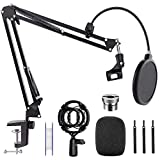 Microphone Stand Desk, Professional Adjustable Mic Stand Suspension Boom Scissor Arm Stand with Pop Filter, 3/8' to 5/8' Screw Adapter, Mic Clip, Heavy Duty Clamp for Blue Yeti Snowball Recording