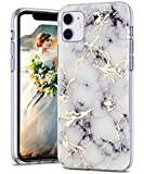 SPEVERT Compatible with iPhone 11 Case 6.1 inches Marble Pattern Hard Back Soft TPU Raised Edge Ultra-Thin Shock Absorption Slim Case for iPhone 11 2019 Released - White