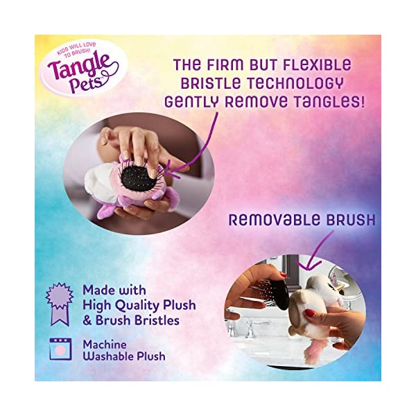 Tangle Pets SPARKLES THE UNICORN- The Detangling Brush in a Plush, Great for Any Hair Type, Removable Plush, As Seen on Shark Tank 6