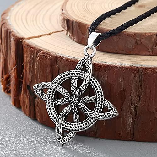 NETUPQ collarChengxun Viking superação grama eslava Amuleto samambaia Flor Proteger contra doenças Colar Amor nó Amuleto jóias