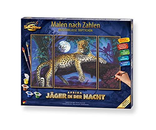 Schipper 609260607 Malen nach Zahlen, Afrika Jäger der Nacht - Bilder malen für Erwachsene, inklusive Pinsel und Acrylfarben, Triptychon, 50 x 80 cm