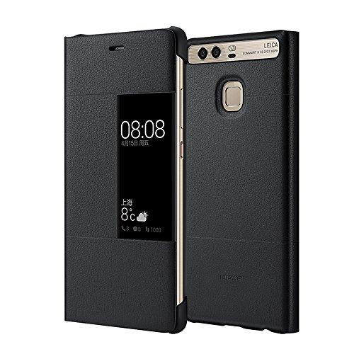 MOONCASE Klappetui Leder Tasche Schutzhülle Hülle Flip View Cover für Huawei P9 Schwarz