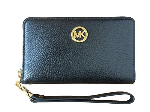 Michael Kors Fulton Large Flat Multi Function Leather Phone Case (Black)