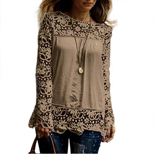 Tops Femmes, Toamen Blouse en mousseline de soie Femmes Mode Manches longues Blouse en dentelle (L, Kaki)