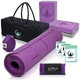 NOLAVA 7 Piece Yoga MAT Set - Yoga Mat Bag for Yoga Accessories|TPE ECO Friendly Yoga Mat | Yoga Blocks 2 Pack | Yoga Strap |Weighted Lavender Eye Pillow|Bonus Yoga Cards| Yoga Gift for Women, Men