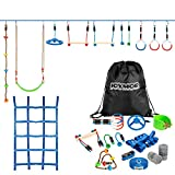 JOYMOR Ninja Warrior Obstacle Course for Kids, 59 Feet Ninja Slackline with 11 Obstacles, Climbing Rope, Net, Swing Seat, Obstacle Wheel, Ninja Obstacle Training Equipment Outdoor