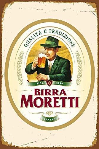 niet Birra Moretti Italiaanse Italië Bier Tin Muurbord Metalen Retro Poster Iron Waarschuwingsborden Vintage Opknoping Art Plaque Yard Garden Cafe Bar Pub Openbaar Gift 8X12 Inch