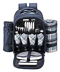 Picnic basket backpack for road trip or camping