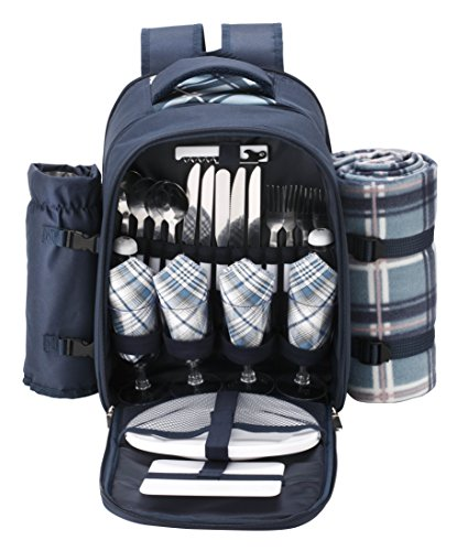 VonShef - 4 Person Blue Tartan Picnic Backpack Bag with Cooler Compartment, Detachable Bottle/Wine...