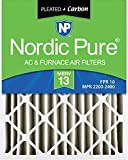 Nordic Pure 20x25x4 MERV 13 Pleated Plus Carbon AC Furnace Air Filters 2 Pack