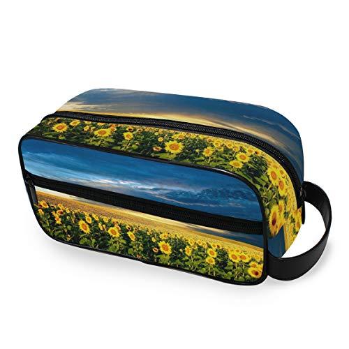 Sunflower Bloom Field Trousse de Maquillage Portable Multifonction pour Femme et Fille