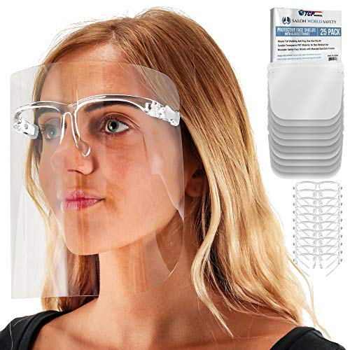 TCP Global Salon World Safety Face Shields with Glasses Frames (Pack of 25) - Ultra Clear Protective Full Face Shields to Protect Eyes, Nose, Mouth - Anti-Fog PET Plastic, Goggles