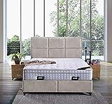 Cama canapé Madrid con canapé de tela, cama de hotel, cama doble tamaño 160 x 200 cm, color beige