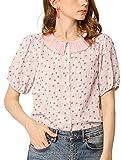 Allegra K Camisa Blusa con Botones Cuello Plisado Mangas De Soplo Floral para Mujer Rosa L