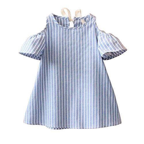 Kinderbekleidung,Honestyi Baby Mädchen Prinzessin Dress Short Sleeve Striped Kleider (13T,Blau)
