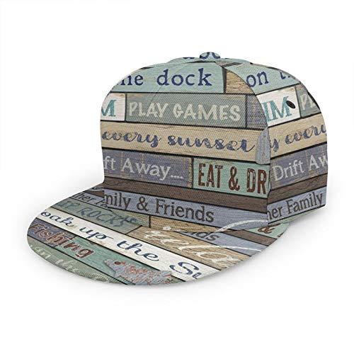 Gorra de béisbol plana con regla 3D para letreros de madera con ala plana ajustable, para papá, sombrero de camionero para hombres y mujeres, color negro
