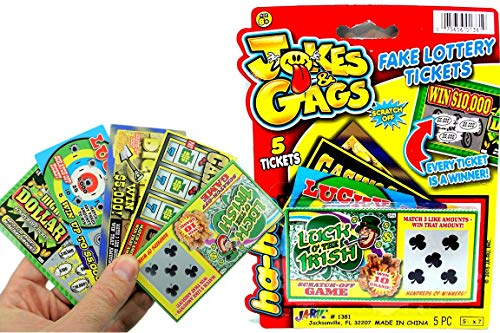 JA-RU Fake Lottery Ticket Scratch Tickets (5 Tickets / 1 Pack) Pranking Toys for Friend and Family...