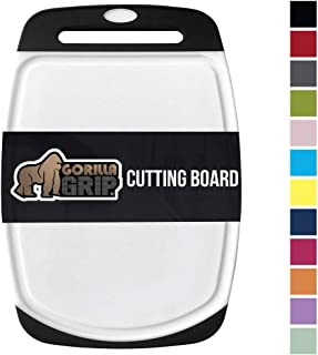 Gorilla Grip Original Oversized Cutting Board, Large Size, 16 Inch x 11.2 Inch, BPA Free, Juice Grooves, Thick Board, Easy Grip Handle, Dishwasher Safe, Non Porous, Kitchen, Chef, Professional, Black