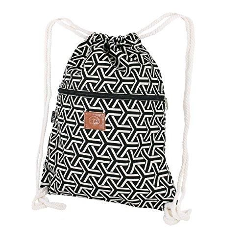 T-BAGS Thailand Baumwoll Turnbeutel Hipster - mit Reißverschluss - 24 Designs – Hochwertiger Beutel, Rucksack, Gym-Bag mit verstellbaren Kordeln (Future)