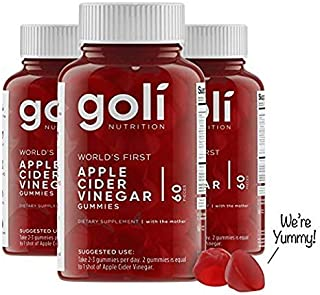 World's First Apple Cider Vinegar Gummy Vitamins by Goli Nutrition - 3 Pack - (180 Count, Organic, Vegan, Gluten-Free, Non-GMO, with