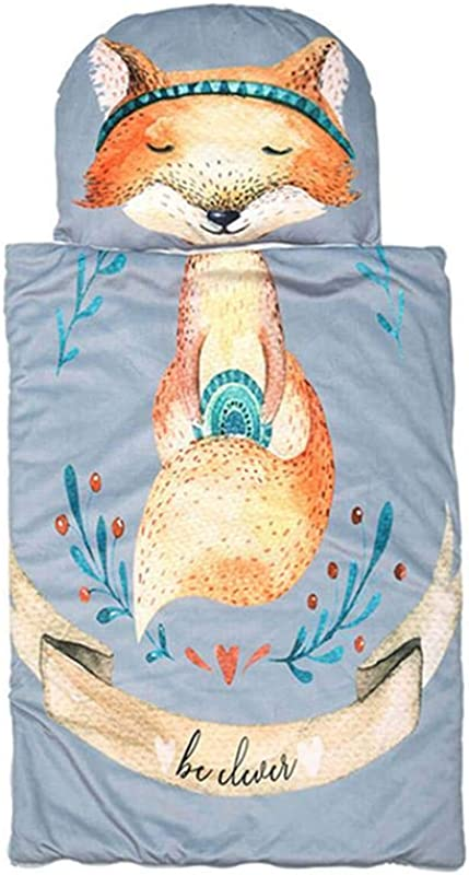 Volwco Kids Nap Mat With Removable Pillow 100 Soft Cotton Sleeping Bag With Cute Cartoon Pattern Baby Toddler Blanket Anti Kick Quilt For Preschool Daycare 37 X 27 Inches Fox Pattern