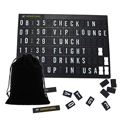 Airport Style Custom Message Letter Board with 264 Changeable Letters, Numbers,Symbols & Blanks,5 Changeable Headers,Wall & Tabletop Display Flight Arrivals Departures Wedding Party Wifi Password Sign
