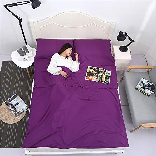 Baomasir Hüttenschlafsäcke Microfibra, 220 x 180 cm, Saco de Dormir de Verano, Muy Adecuado para Mochilas de Viaje y hoteles, Morado Oscuro