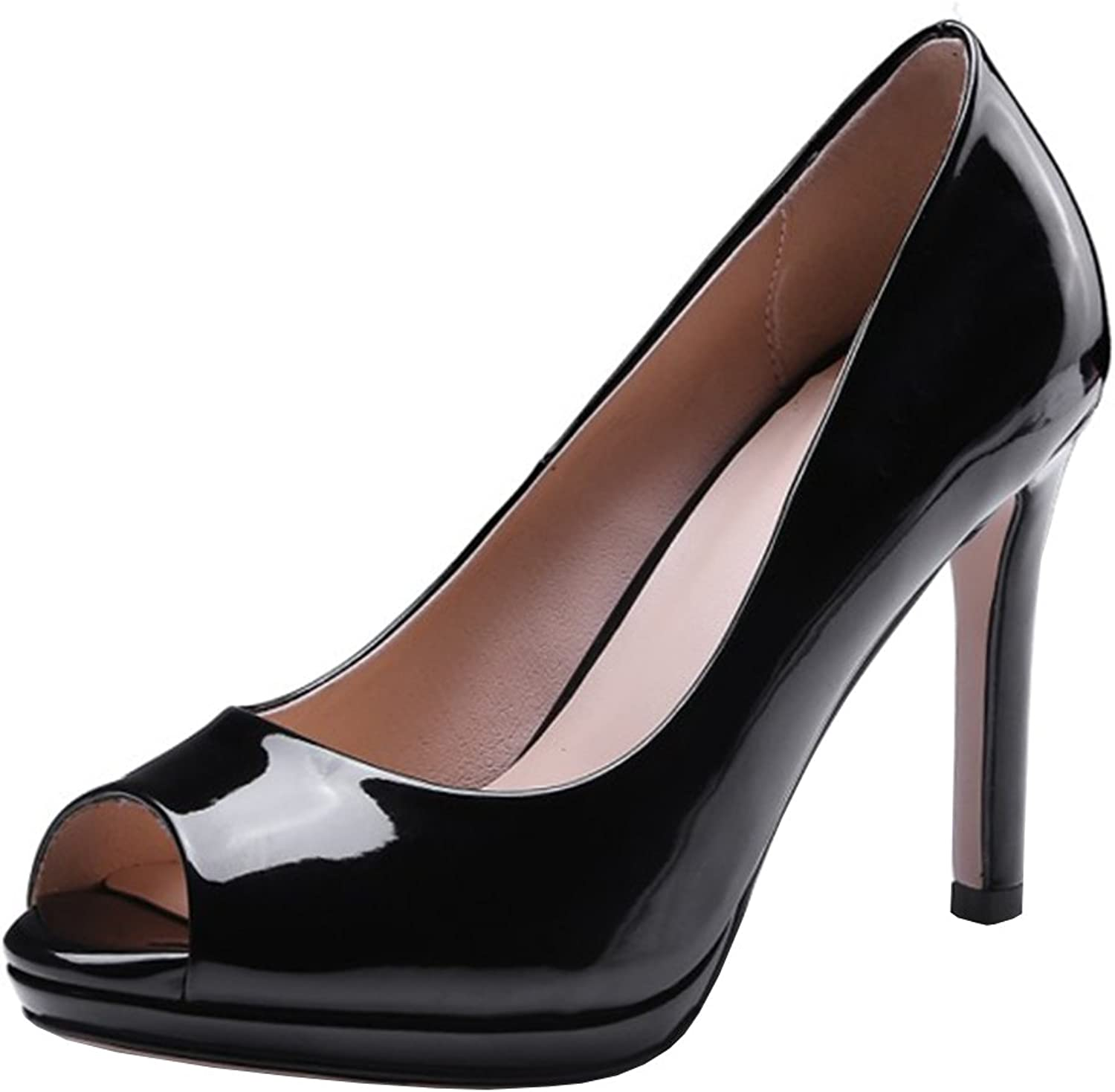 Atyche Womens High Heels Peep Toe Pumps Patent Leather Slip on Party Work Summer shoes