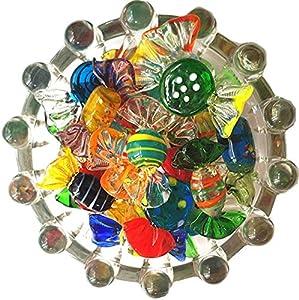 Almabner Glass Candy - Figuras decorativas de cristal (24 unidades), diseño vintage de Murano