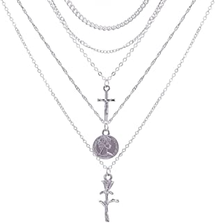 Ronshin Fashion Vintage Chic Cross Rose Muiltilayer Fashion Necklace