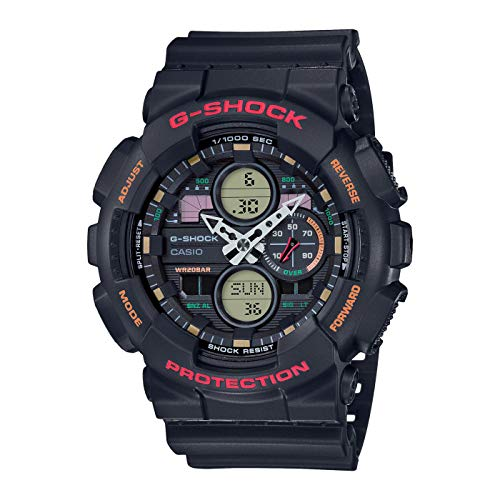 CASIO Herren Analog – Digital Quarz Uhr mit Resin Armband GA-140-1A4ER