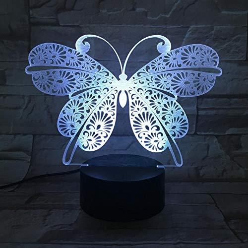 Leeypltm Mooie vlinder 3D illusie lamp LED nachtlampje 7 kleuren wijzigen, Touch Control, USB-oplader, als decoratieve woonkamer slaapkamer, en verjaardag cadeau