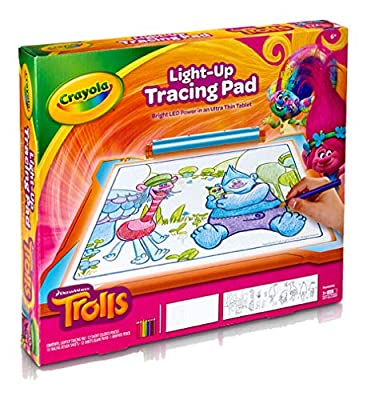 Crayola Trolls World Tour Light Up Tracing Pad, Coloring Board for Kids, Gift, Toys for Girls, Ages 6, 7, 8, 9