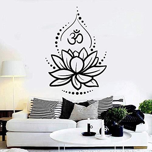 Pegatinas De Pared Lotus Vinilo Pared Decoración Del Dormitorio Yoga Hinduismo Símbolos Hindúes Meditación Pared Arte Murales 57X80Cm